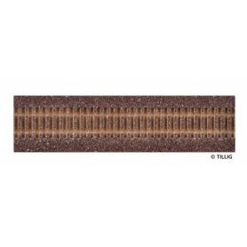 Tillig 86500 Rälsbädd, brun, för Tillig Rak, längd 228 mm