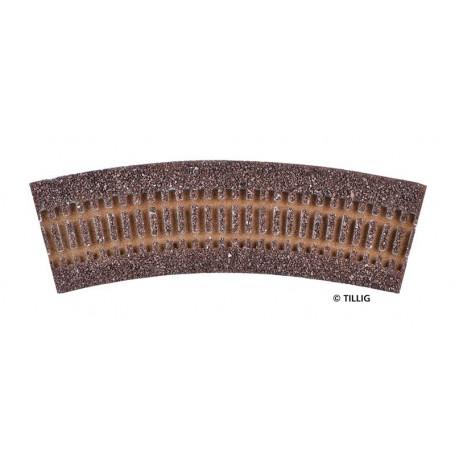 Tillig 86502 Rälsbädd, brun, för Tillig Kurva R11/30°