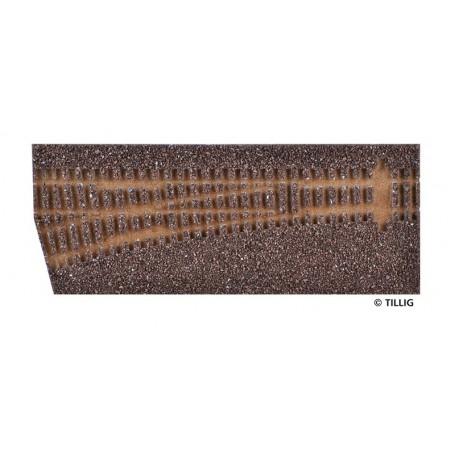 Tillig 86512 Rälsbädd, brun, för Tillig Växel EW1, vänster