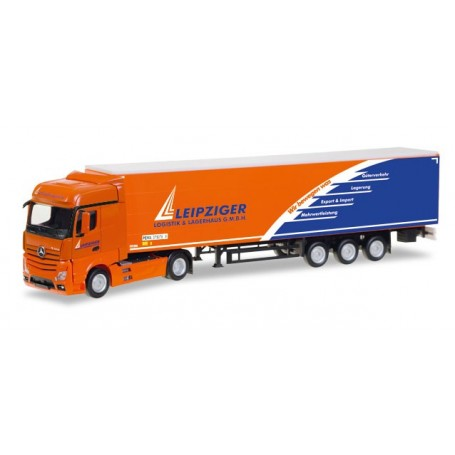 "Herpa 307444 Mercedes-Benz Actros Bigspace curtain canvas semitrailer ""Leipziger Logistik"""