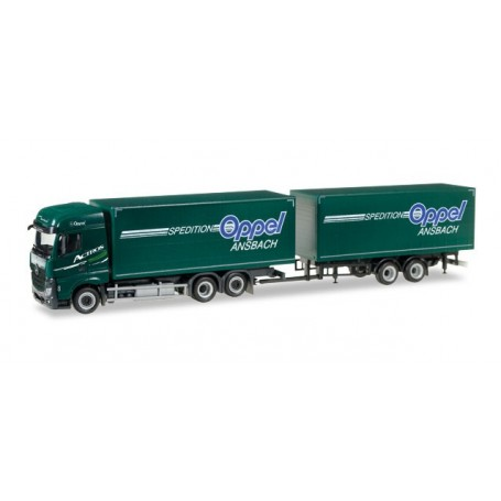 "Herpa 307376 Mercedes-Benz Actros Streamspace 2.5 curtainsider trailer ""Oppel Ansbach"""