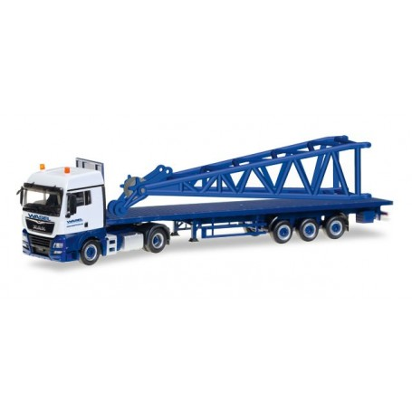 "Herpa 307222 MAN TGX XLX 6c flatbed semitrailer with end piece for Liebherr LR 1600/2 ""Wasel"""