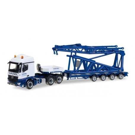 "Herpa 307253 Mercedes-Benz Arocs low boy semitrailer with boom foot for Liebherr LR 1600/2 ""Wasel"""