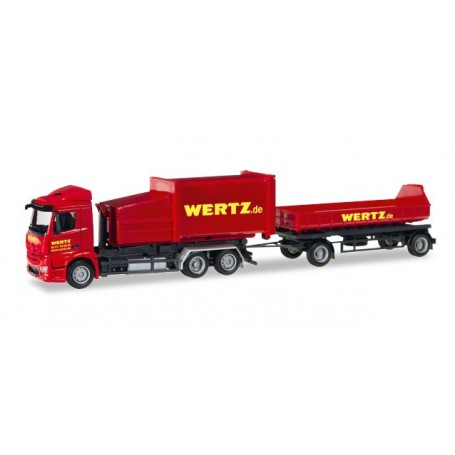 "Herpa 307437 Mercedes-Benz Antos garbage container trailer ""Wertz Aachen"""