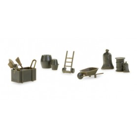 Herpa 745840 Herpa Military: Accessories wheelbarrows, sack barrows, barrels (contains 144 parts)