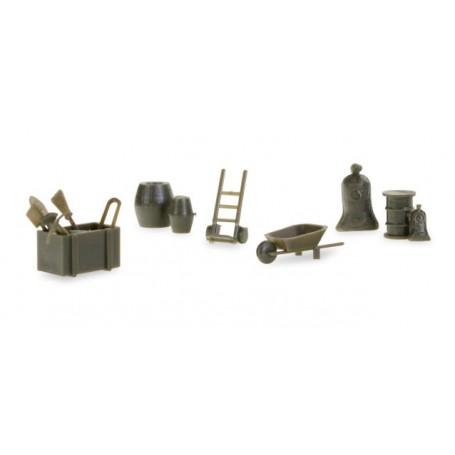 Herpa 745840 Herpa Military: Accessories wheelbarrows, sack barrows, barrels (contains 144 parts)