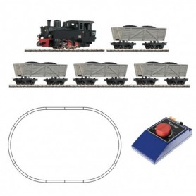 Roco 31029 Analogue Starter Set: light railway steam locomotive with turf lorries