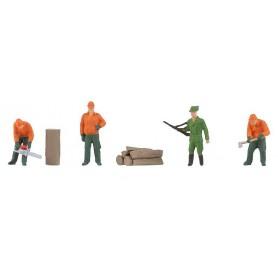 Faller 150935 Forestry workers, 4 st med tillbehör