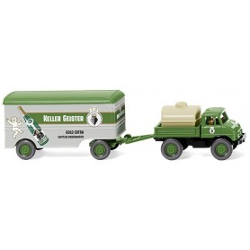 "Wiking 37106 Unimog U 406 with box trailer ""Keller Geister"""