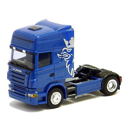 Herpa 580353 Dragbil Scania R Highline, 2-axlig, hytt blå med silver/blått tryck (AWM)