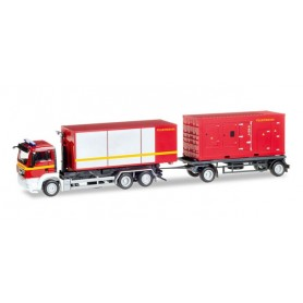 "Herpa 307536 MAN TGS M Euro 5 Hooklift trailer pull with power unit and container ""Feuerwehr"""