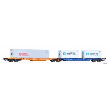 "Tillig 76637 Dubbelvagn Sdggmrs 744 typ DB AG med last av 2 containers ""OOCL / Maersk"""
