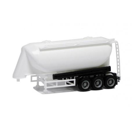 Herpa 650307 Silotrailer 3-axlig, vit med svart chassie