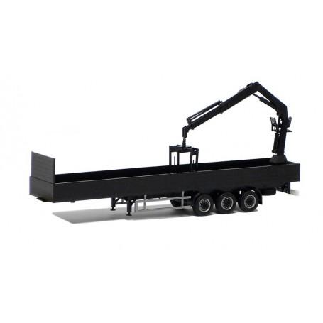 Herpa 671402 Eurotrailer 3-axlig med lastkran, svart