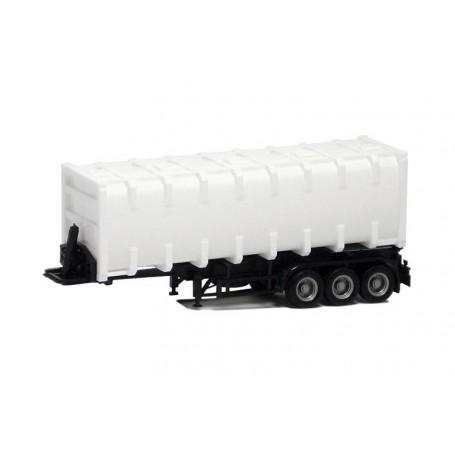 Herpa 672204 Bulkcontainer 3-axlig, vit med svart chassie