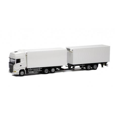 Herpa 000361 Bil & Släp Scania R Topline Tandem, vit med svart chassie