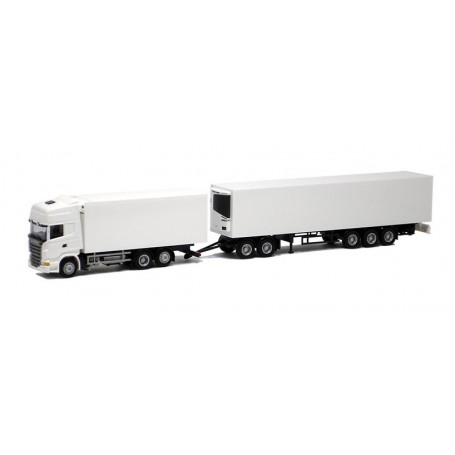 Herpa 000362 Bil & Släp Scania R Topline Gigaliner, vit med svart chassie