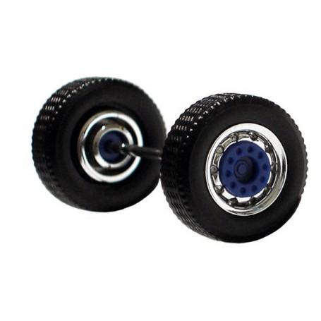 Herpa 690105D Däck/hjulaxel, framaxel/stödaxel, 1 st, kromad/blå