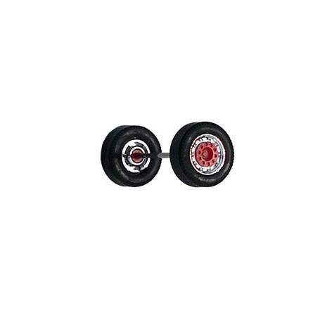 Herpa 690102E Däck/hjulaxel, framaxel/stödaxel MEDI, 1 st, kromad/röd