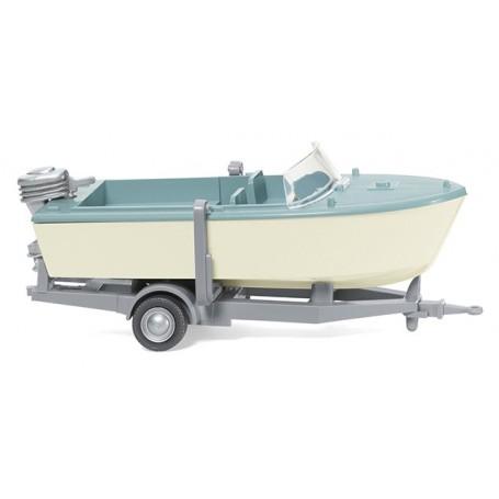 Wiking 09502 Trailer-mounted motor boat creme/pastel turquoise, 1961