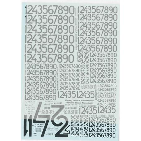 FCA 72-002A Dekalark för flygplan, Svenska Flygvapnet, svenska siffror, svarta, moderna