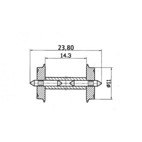 Roco 40193 Hjulaxel, 2 st, med delad axel, 11 mm hjuldiameter