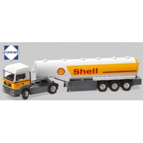 """Conrad 6614701 MAN TG-A M typ """"Willig"""" med 3-axlig tanktrailer """"Shell"""""""