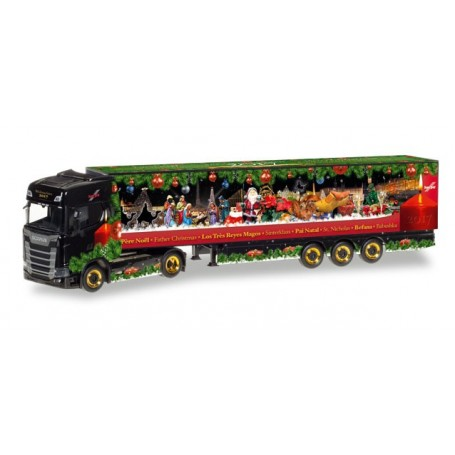 "Herpa 307789 Scania CS 20 HD box semitrailer ""Herpa Christmas Truck 2017"""
