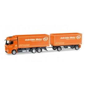 """Herpa 308083 Mercedes-Benz Actros Bigspace interchangeable box trailer """"Gebrüder Weiss"""" (A)"""