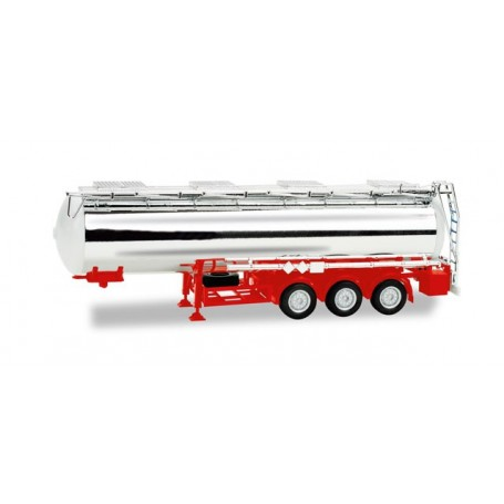 Herpa 076456.2 Chrome-plated chemical tank trailer Feldbinder, 32m³ (red)