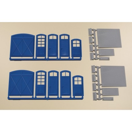 auhagen 80255 gates and doors blue steps ramps