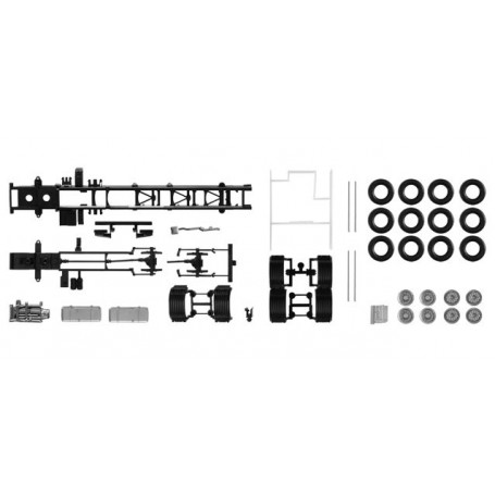 Herpa 084703 Chassis Volvo 4-achs LKW with side skirting (Content: 2 pieces)