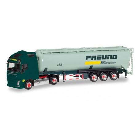 """Herpa 308168 Volvo FH Gl. XL silo semitrailer """"Freund"""""""