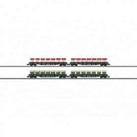 """Trix 15071 Vagnsset med 4 st flakvagnar, varje vagn är lastad med 7 st dumpcontainrar """"Awilog"""""""