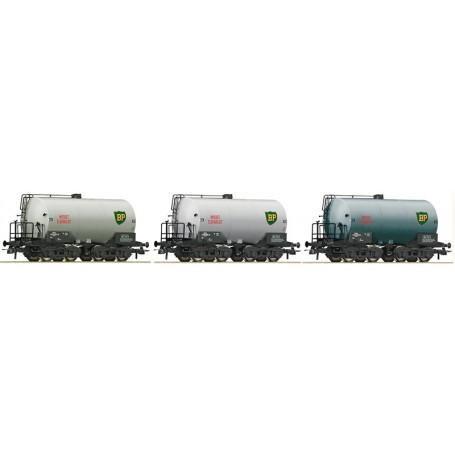 """Roco 67137 Vagnsset med 3 tankvagnar typ SJ """"BP"""""""