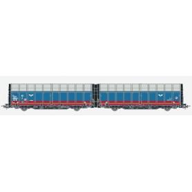 Hobby Trade 35002 Dubbelvagn 45 74 SJ 438 1 090-0 Laaeilprs940 SJ i röd/blått utförande