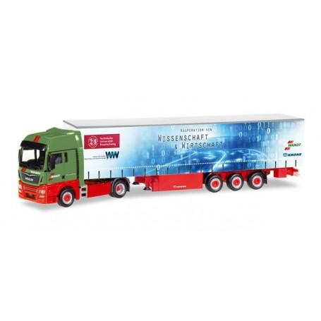 """Herpa 307925 MAN TGX XXL curtain canvas semitrailer """"Wandt / TU Braunschweig"""""""
