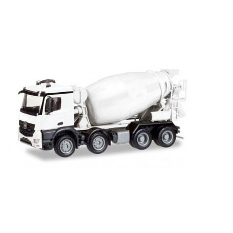 Herpa 013147 Herpa MiniKit: Mercedes-Benz Arocs M concrete mixer truck, 4-axle, white / unprinted