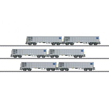 Märklin 46912 Vagnsset med 6 öppna gondolavagnar typ Fas SBB Cargo