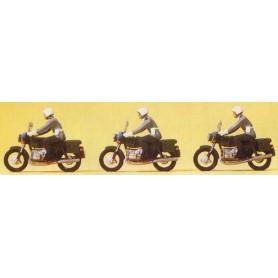 Preiser 16833 Militärpoliser på motorcykel, 3 st