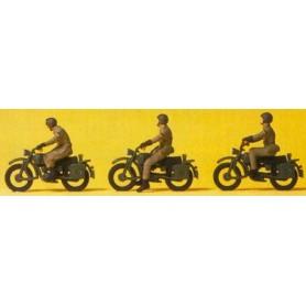 Preiser 16834 Tyska militärer på motorcykel, 3 st