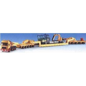 Kibri 13515 MAN Tungtransport med trailer och last av grävmaskin m.m., mått 46,5 x 4,6 x 5,6 cm