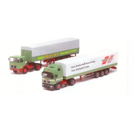 """Herpa 187541 Set med 2 lastbilar """"20 Jahre Herpa"""" MAN F8 med trailer och MAN F2000 HD med trailer """"Wandt"""""""