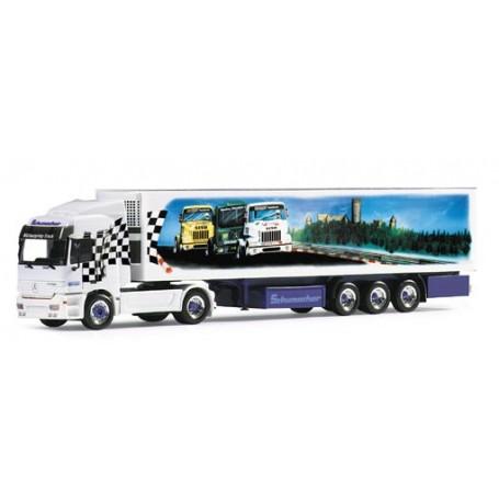 """Herpa 120135 Mercedes-Benz Actros L Kylskåptrailer """"Schumacher Nürburgring"""" PC-Box"""