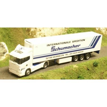 "Herpa 144711 Scania 124 med Skåptrailer ""Schumacher"""
