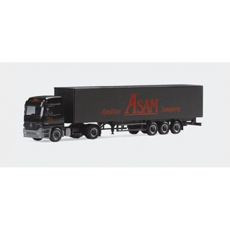 "Herpa 146074 Mercedes Benz Actros L curtain canvas semitrailer ""ASAM"""