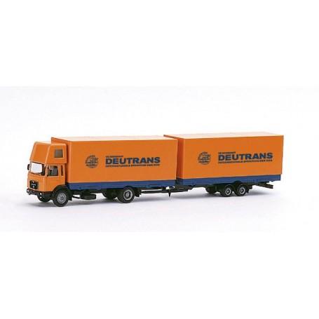 "Herpa 148023 MAN F 8 Jumbo curtain canvas trailer ""Deutrans"""