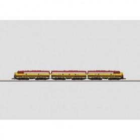"""Märklin 88199 Diesellektriskt motorvagnståg 3-delat typ EMD F7 """"American railroad Kansas City Southern"""""""