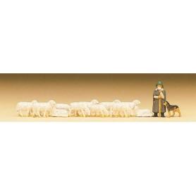 Preiser 79160 Fåraherde med hund och får, 8 st