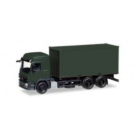 "Herpa 013383 Herpa MiniKit Military: Mercedes-Benz Actros L interchangable truck with container, bronze green ""Bundeswehr"""